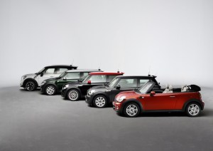 The MINI Family. MINI, MINI Clubman, MINI Convertible, MINI Countryman and MINI John Cooper Works.